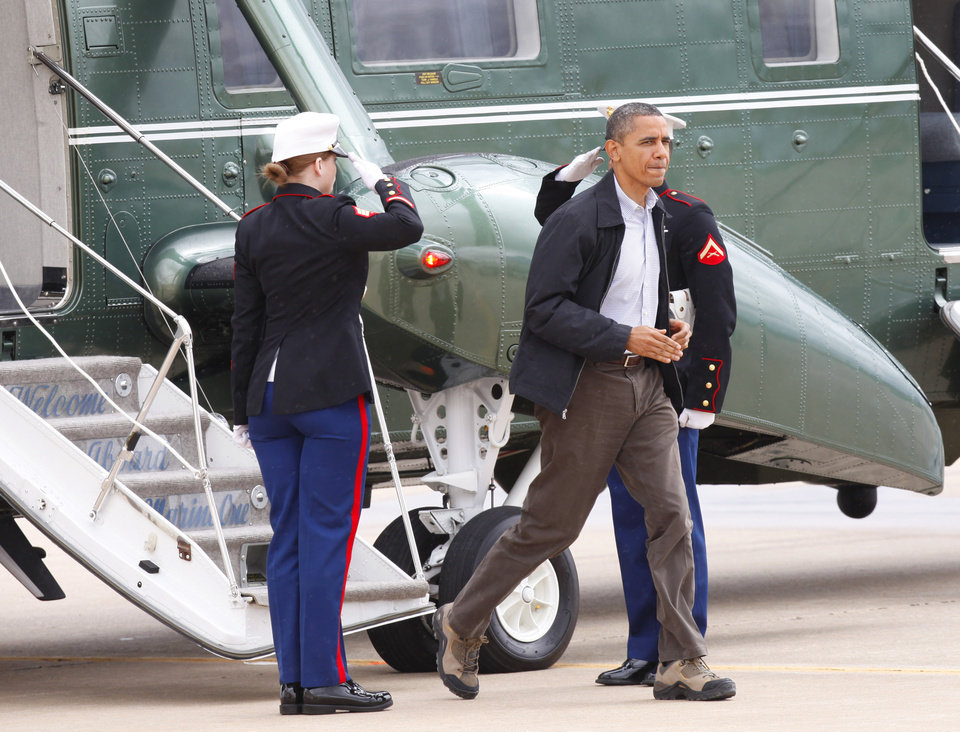 Photo - President Barack Obama steps off Marine One  at Tinker Air Force Base in Oklahoma City, Thursday,  March 22, 2012.  Photo By David McDaniel/The Oklahoman