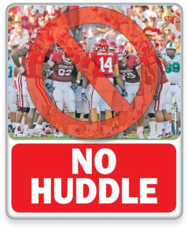 No Huddle GRAPHIC WITH PHOTO: Oklahoma quarterback Sam Bradford (14) lead the Sooners in the huddle during the first half during the University of Oklahoma Sooners (OU) college football game against the University of North Texas Mean Green (UNT) at the Gaylord Family -- Oklahoma Memorial Stadium, on Saturday, Sept. 1, 2007, in Norman, Okla. By CHRIS LANDSBERGER, The Oklahoman ILLUSTRATION BY PHILLIP BAEZA, THE OKLAHOMAN