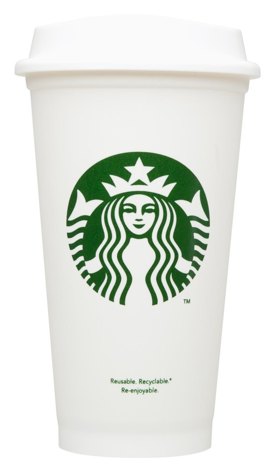 This undated photo provided by Starbucks Corp., shows a reusable cup. Starbucks Corp. is rolling out a $1 reusable plastic cup at its cafes starting Thursday, Jan. 3, 2013.  The Seattle-based coffee chain already gives customers a dime discount each time they bring in reusable cups for refills. Now it's hoping the new cups � which bear its logo and resemble its white paper cups � will increase the habit. (AP Photo/Starbucks Corp.)
