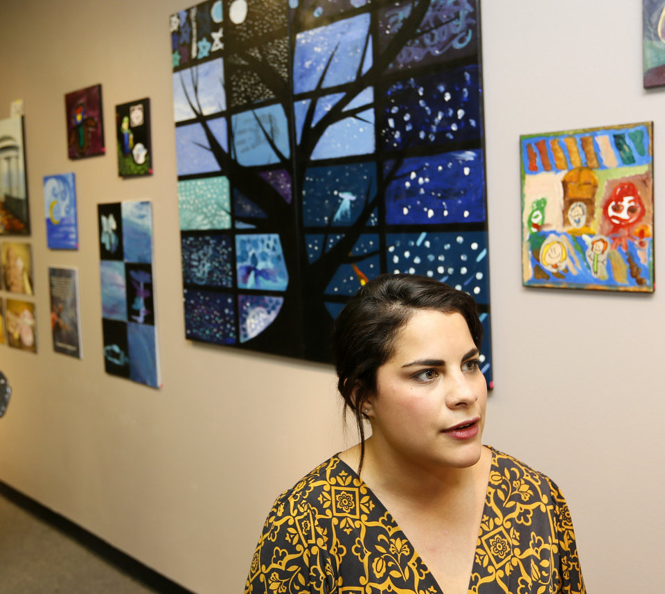 Photo -  Big Swanky Art Camp director Cristine Segui-Harris talks during the Big Swanky Art Show on Friday at Rainbow Fleet, 3024 Paseo in Oklahoma City. Photo by Nate Billings, The Oklahoman   NATE BILLINGS -  NATE BILLINGS