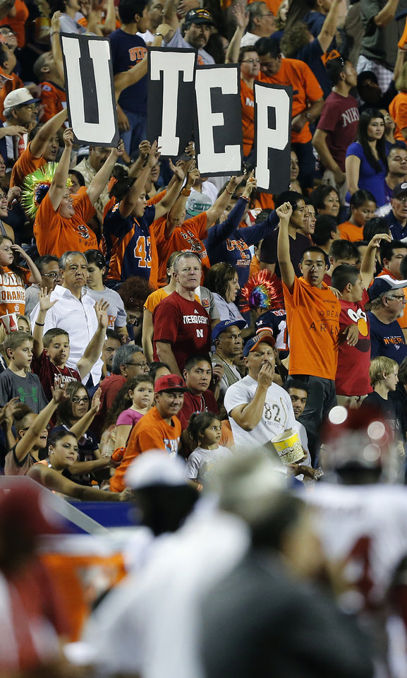 Photo - UTEP fans cheer on their Miners during the college football game between the University of Oklahoma Sooners (OU) and the University of Texas El Paso Miners (UTEP) at Sun Bowl Stadium on Saturday, Sept. 1, 2012, in El Paso, Tex.  Photo by Chris Landsberger, The Oklahoman