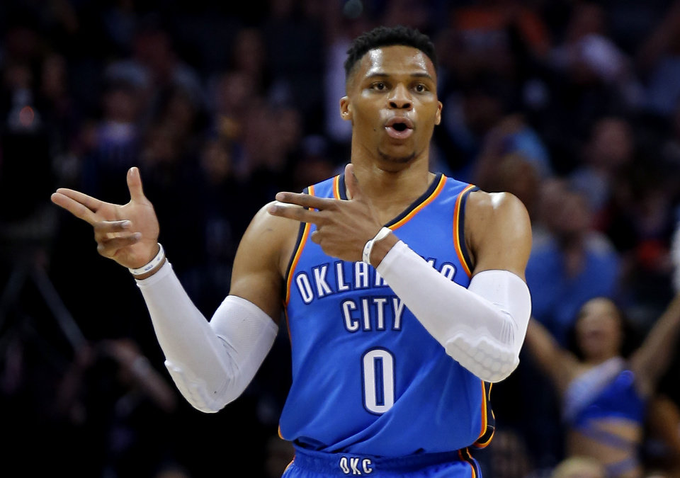 Photo -  Russell Westbrook's scoring average is down six points a game from last season. However, his shooting percentage is up from 42.5 a year ago to 45.0. [Photo by Sarah Phipps, The Oklahoman]