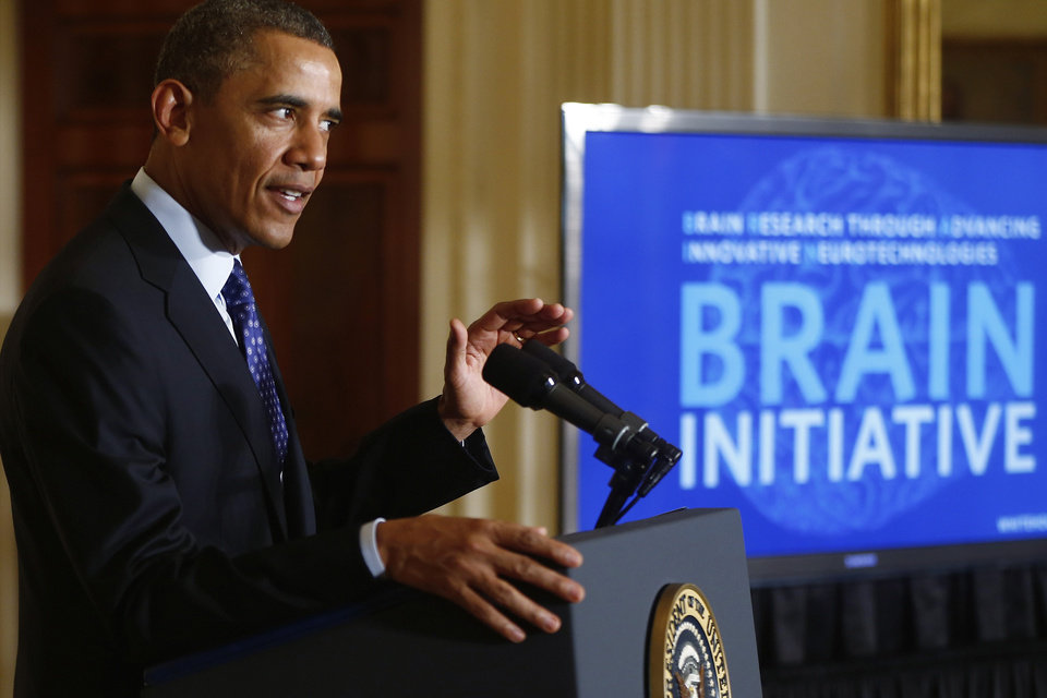 Photo - President Barack Obama speaks about the BRAIN (Brain Research through Advancing Innovative Neurotechnologies) Initiative, Tuesday, April 2, 2013, in the East Room at the White House in Washington. (AP Photo/Charles Dharapak)
