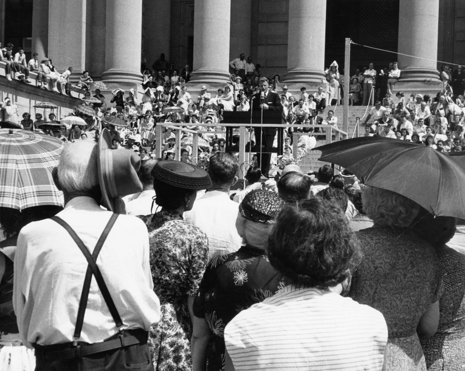 Photo - A crowd estimated at 5,000 hears evangelist Billy Graham speak on the state Capitol steps in June of 1956.    Staff photo by Bob Albright taken 6/13/1956; photo ran in the 6/13/1956 Oklahoma City Times.