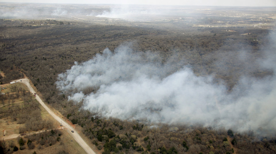 A brush fire burns near Lake Stanley Draper in Oklahoma City, Friday, April 10, 2009. Photo by Bryan Terry, The Oklahoman