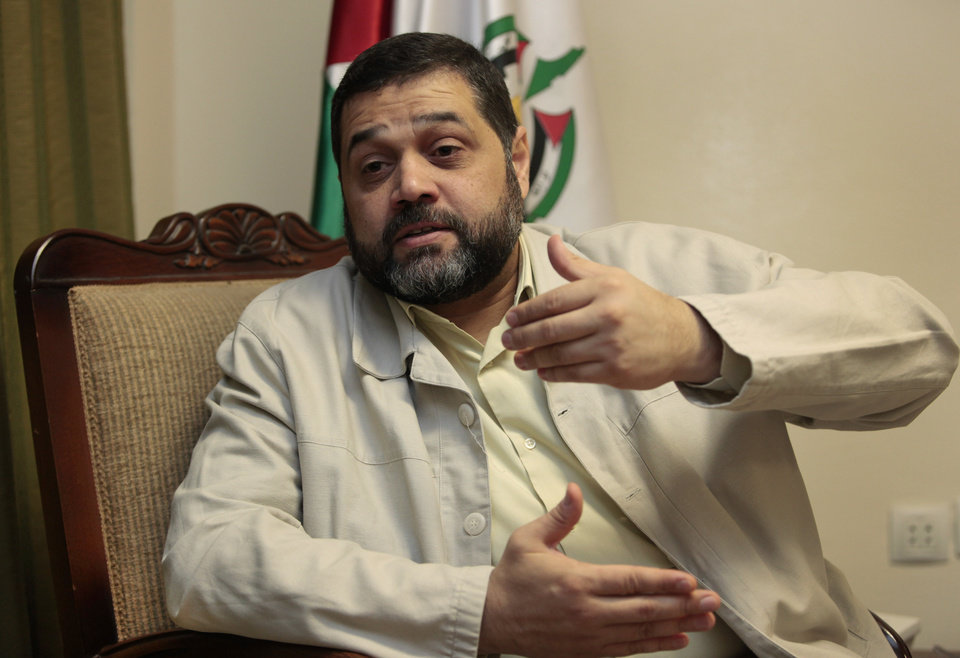 Photo -   Osama Hamdan, who handles foreign relations for Hamas, speaks during an interview with The Associated Press, in the southern suburb of Beirut, Lebanon, Wednesday May 2, 2012. Hamdan said the Islamic militant group has been holding secret political talks with five European Union member states in recent months. He also said that the talks with European government officials focus on the Hamas positions toward Israel and paralyzed Mideast peace efforts. (AP Photo/Hussein Malla)