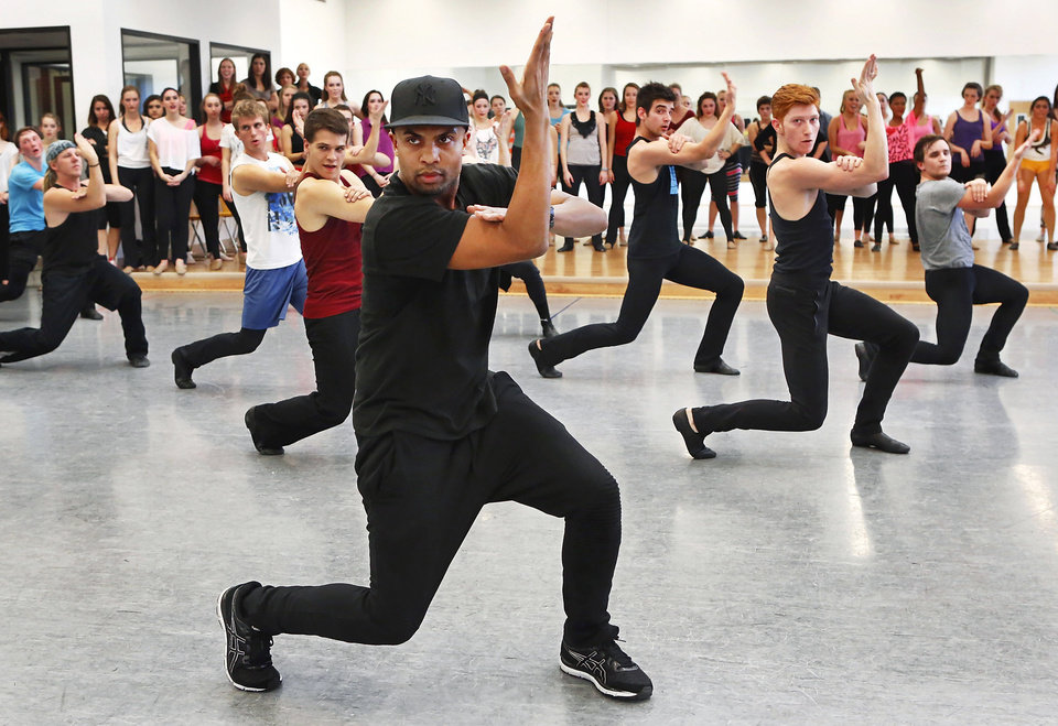Leading choreographers and OCU alumni, brothers Marcel, shown here, and Kevin Wilson returned to Oklahoma City University to teach a dance class on Friday, Nov. 2, 2012, in the Ann Lacy School of American Dance and Arts Management on the school\'s campus. The Wilson brothers are well known in the music and dance industry for their cutting-edge choreography and unique fusion of jazz, contemporary, hip hop, pop and musical-theater dance. They have performed with recording artists including Madonna, Beyonce, the late Whitney Houston and have toured globally with entertainers such as Janet Jackson, Britney Spears and Christina Aguilera. Photo by Jim Beckel, The Oklahoman