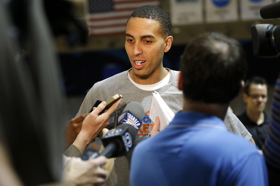 Oklahoma City\'s Kevin Martin talks with the media before a Thunder practice at Rice University in Houston, Texas, Sunday., April 28, 2013. Photo by Bryan Terry, The Oklahoman