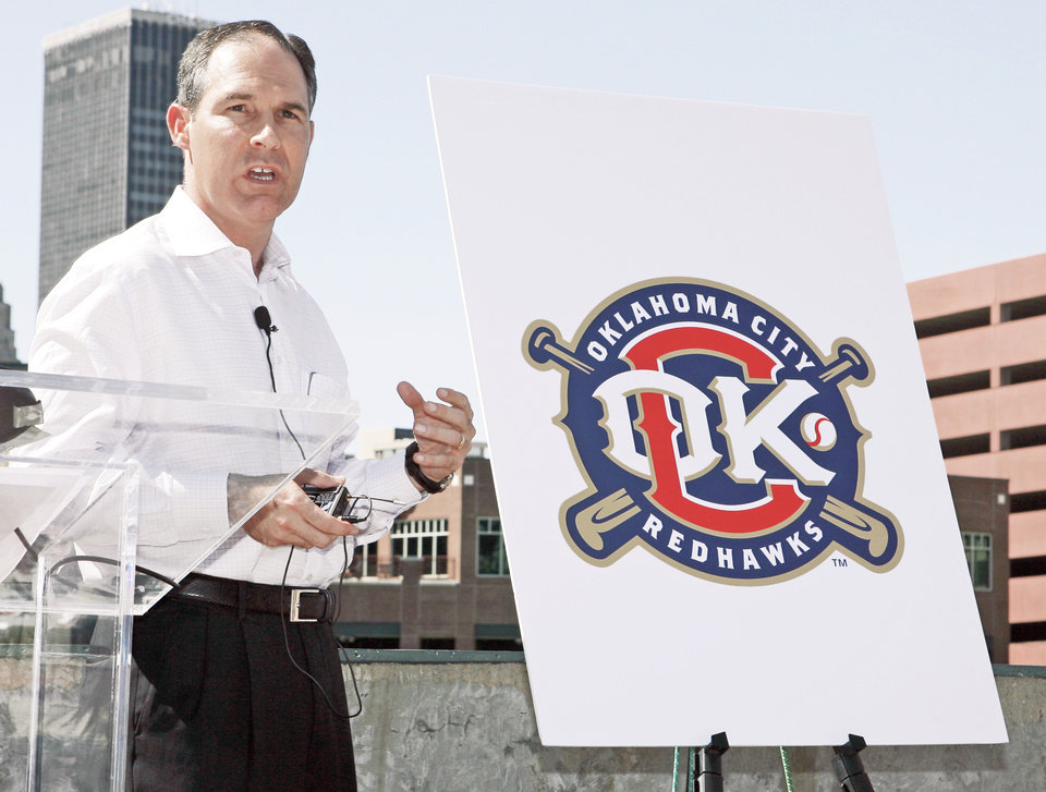 Photo - Scott Pruitt became involved with the ownership of the RedHawks in 2004.  PHOTO BY NATE BILLINGS, THE OKLAHOMAN