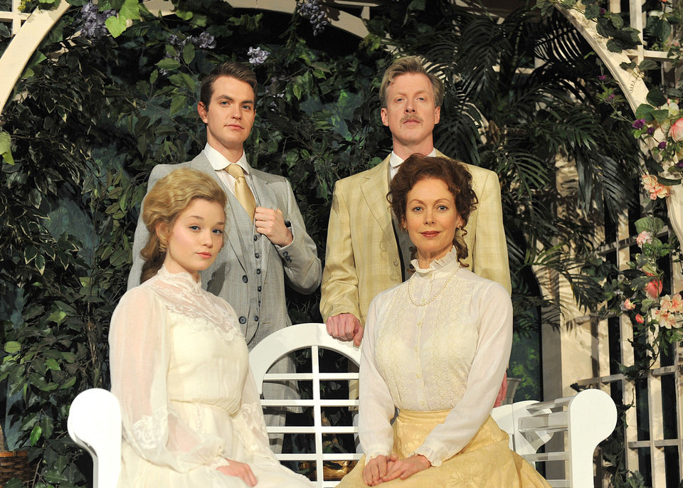 Photo - Clockwise, Alex Enterline stars as Claudio, Lane Fields as Benedick, Stacey Logan as Beatrice and Lauren Thompson as Hero in Shakespeare's