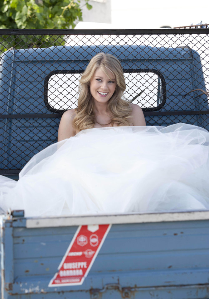 Photo -   In this photo released Wednesday, May 9, 2012 by Bell Phillip Television Productions Inc., Kim Matula, who plays Hope, is seen during the shooting of TV soap opera
