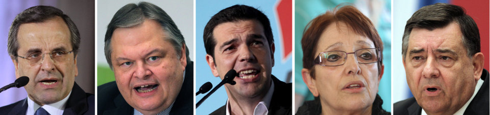 Photo -   This combination picture of file photos shows from left to right, leader of the conservative New Democracy party Antonis Samaras, leader of the Socialist PASOK party Evangelos Venizelos, leader of the Left Coalition party Alexis Tsipras, leader of the Greek Communist Party Aleka Papariga, and leader of the right wing Laos party Giorgos Karadzaferis. All five are currently represented in Greece's parliament and are running in Sunday's national elections. (AP Photo)