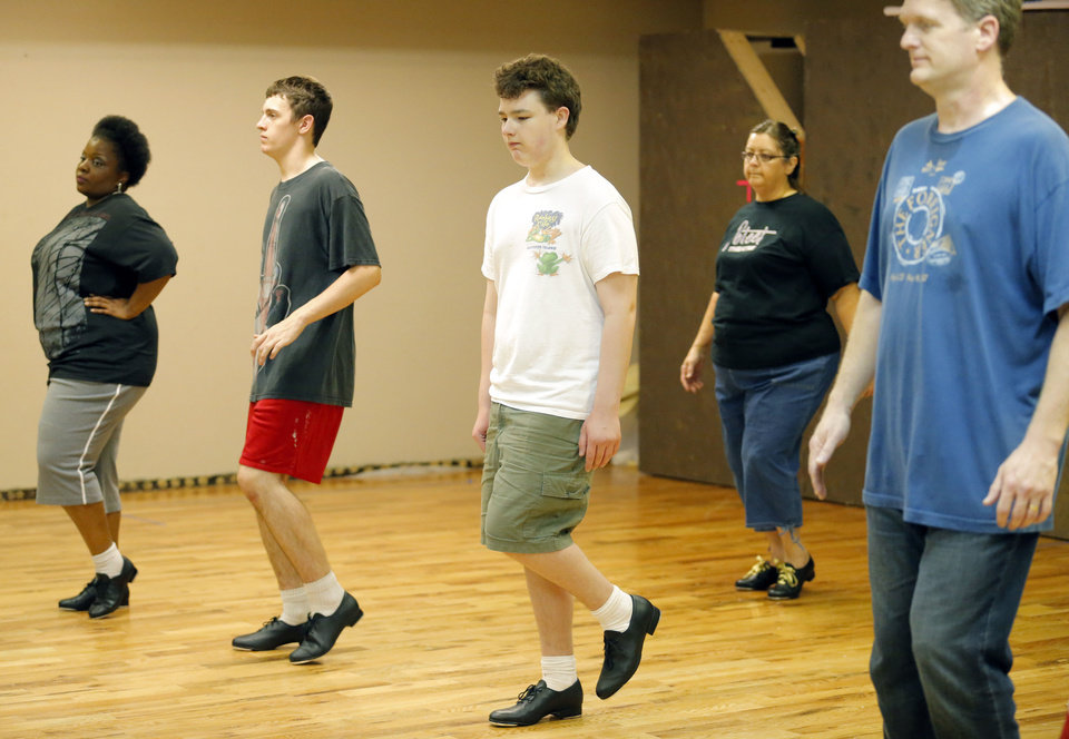 Adult students tap dancing at St Luke's Poteet Theater, from left, are Anitta Swain, Joe Grotta, Wesley Sweigart, Kathy Smith and David Palmer. Photo by Sarah Phipps, The Oklahoman