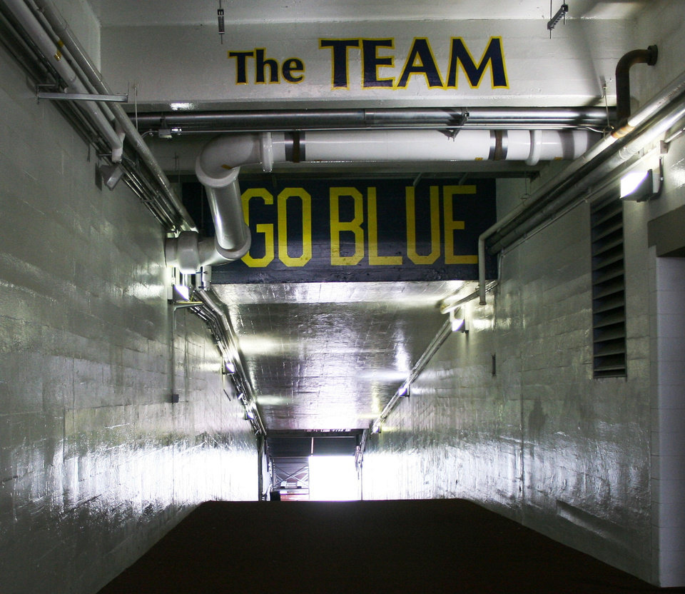 Photo - The runway to the field at Michigan Stadium in Ann Arbor, Mich.  DAVE CATHEY - THE OKLAHOMAN