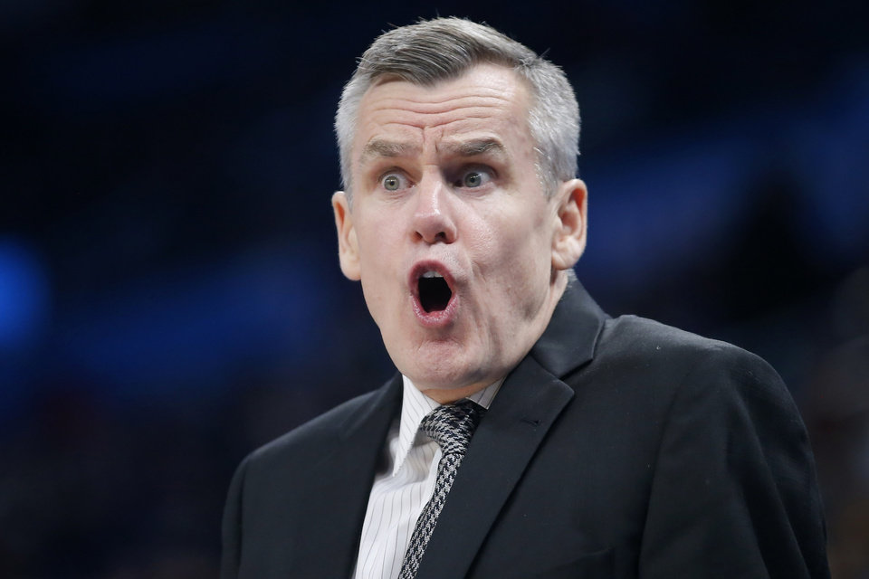 Photo - Oklahoma City coach Billy Donovan shouts at an official in the fourth quarter of an NBA basketball game between the Oklahoma City Thunder and the Cleveland Cavaliers at Chesapeake Energy Arena in Oklahoma City, Wednesday, Feb. 5, 2020. Oklahoma City won 109-103. [Bryan Terry/The Oklahoman]