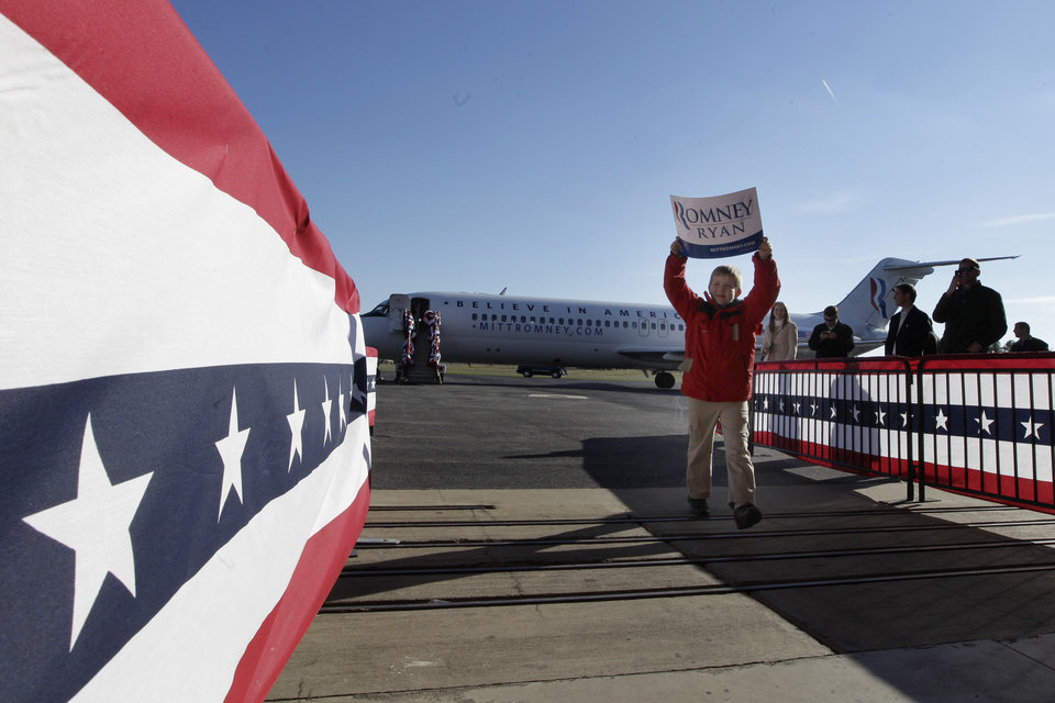 Republican vice presidential candidate, Rep. Paul Ryan's, R-Wis., son Sam, arrives at a campaign event at Richmond International Airport,, Saturday, Nov. 3, 2012 in Richmond, Va. (AP Photo/Mary Altaffer)