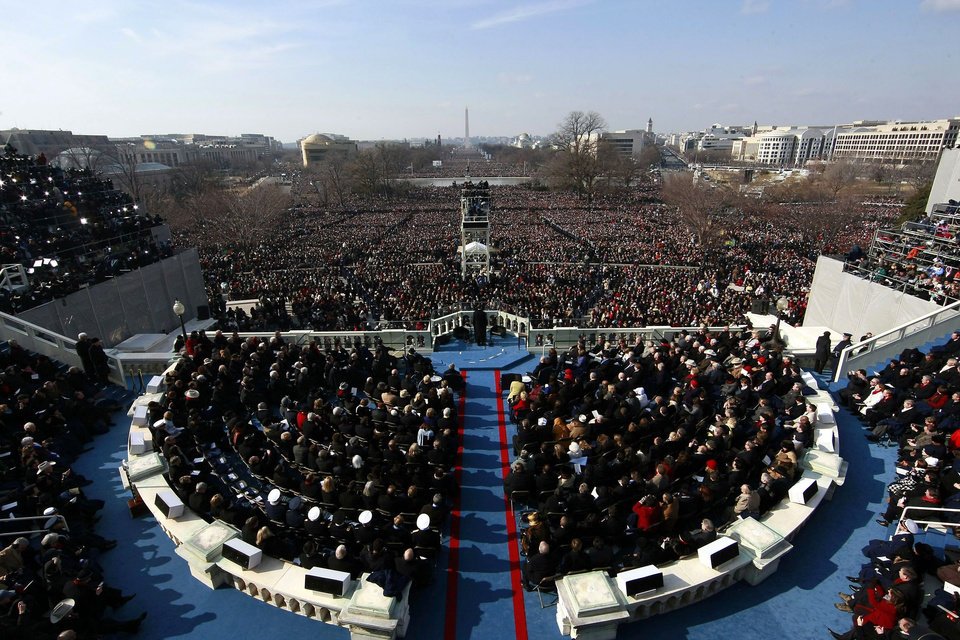 Photo - President Barack Obama gives his inaugural address at the U.S. Capitol in Washington, Tuesday, Jan. 20, 2009, after being sworn in as the president of the United States. (AP Photo/Win McNamee, Pool)