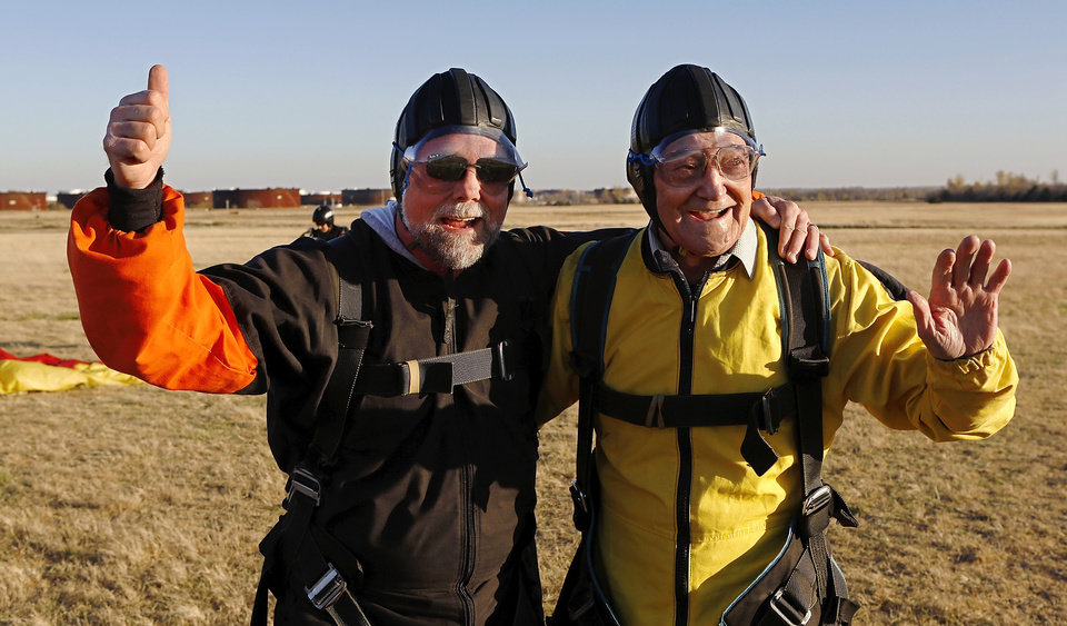 Warren Crawford, Oklahoma City, a 91 year-old WWII veteran, made his first skydive Saturday afternoon, Nov. 17, 2012, at Cushing Regional Airport. Crawford served as a bombardier during the war, but had never parachuted from a plane. He said this has been a dream of his for most of his life, but had promised his wife he wouldn't do it until after she died. Crawford's two sons, Steve and Bud,  joined their father on the skydiving adventure.The elder Crawford performed a tandem jump with Andy Beck, an instructor at Skydive Oklahoma, which gives lessons and provides an airplane service for skydiving enthusiasts.    Photo by Jim Beckel, The Oklahoman