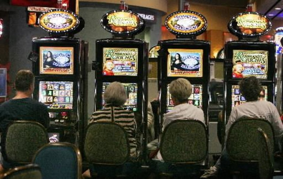 Patrons play gaming machines at Riverwind Casino in Norman, OK. Wed. June, 3, 2009. Photo by Jaconna Aguirre