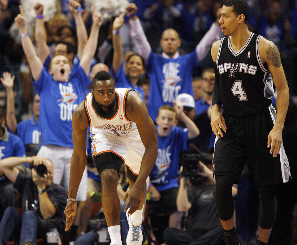 Oklahoma City\'s James Harden (13) celebrates a 3-point shot near San Antonio\'s Danny Green (4) in the first half during Game 3 of the Western Conference Finals between the Oklahoma City Thunder and the San Antonio Spurs in the NBA playoffs at the Chesapeake Energy Arena in Oklahoma City, Thursday, May 31, 2012. Photo by Nate Billings, The Oklahoman