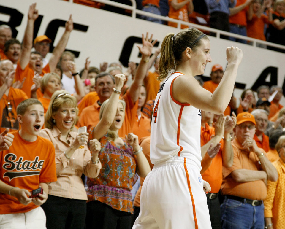 Oklahoma State's Liz Donohoe (4) celebrates during the women's NIT semifinal college basketball game between Oklahoma State University (OSU) and San Diego at Gallagher-Iba Arena in Stillwater, Okla., Wednesday, March 28, 2012. Oklahoma State won 73-57. Photo by Bryan Terry, The Oklahoman