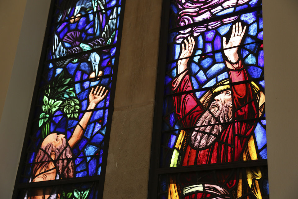 Colorful stained-glass windows tell a sacred story in the sanctuary at St.  Elijah Orthodox Christian Church, 15000 N May. <strong>Garett Fisbeck - Garett Fisbeck</strong>