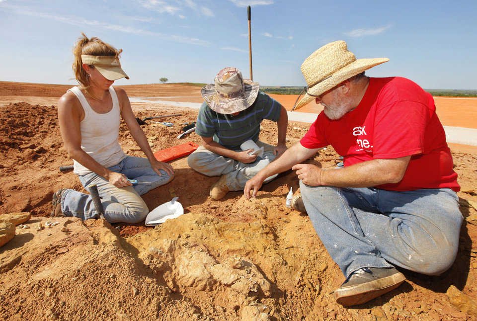 Photo - Amy Cojeen and David Boling, archaeologists with Cojeen Archaeological Services, and paleontologist Kyle Davies, right, fossil preparator with the Sam Noble Oklahoma Museum of Natural History, prepare a fossilized bone for removal form pit C on an Apache Corp. drilling site at the Packsaddle Wildlife Management Area in Ellis County south of Arnett Thursday, Aug. 22, 2013.  Teeth and bone fossils found at the site included those from prehistoric camels and horses. Photo by Paul B. Southerland, The Oklahoman  PAUL B. SOUTHERLAND - PAUL B. SOUTHERLAND