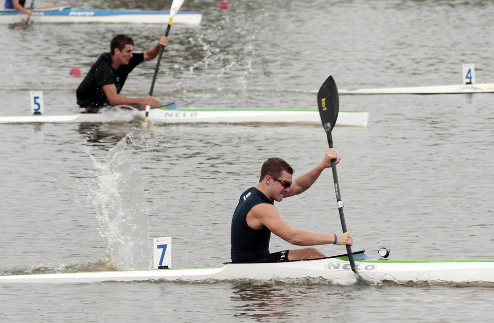Dylan Puckett (7), Jones, Okla. competes in a heat of the Jr. Men\'s K1 kayak at the 2012 Oklahoma Regatta Festival on Friday, Sept. 28, 2012 in Oklahoma City, Okla. Photo by Steve Sisney, The Oklahoman