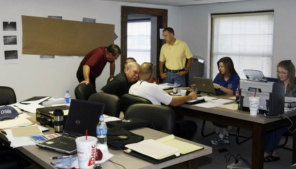 Law enforcement officials investigate the murders of Taylor Dawn Paschal-Placker, 13, and Skyla Whitaker, 11, from a command center in Okemah, Okla., on Friday, June 13, 2008.  (AP Photo/Stephen Pingry, Pool)