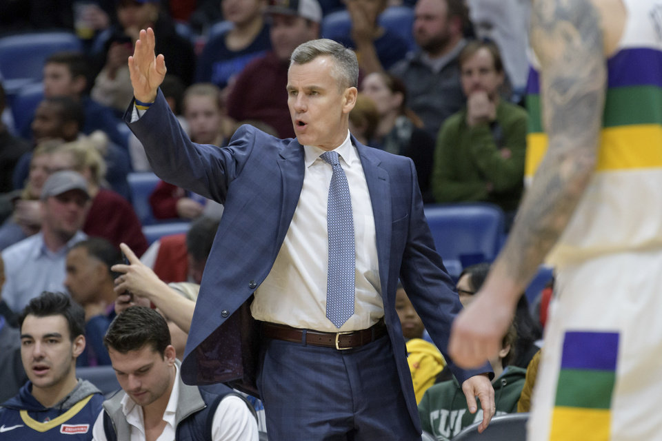 Photo - Oklahoma City Thunder coach Billy Donovan argues a call during the first half of the team's NBA basketball game against the New Orleans Pelicans in New Orleans, Thursday, Feb. 13, 2020. (AP Photo/Matthew Hinton)