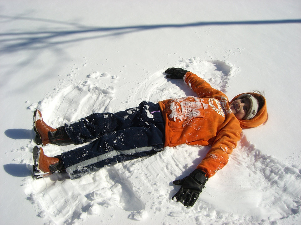 Kassidy Losurdo making a snow angel. Community Photo By: Shelly Losurdo Submitted By: Richard, Choctaw