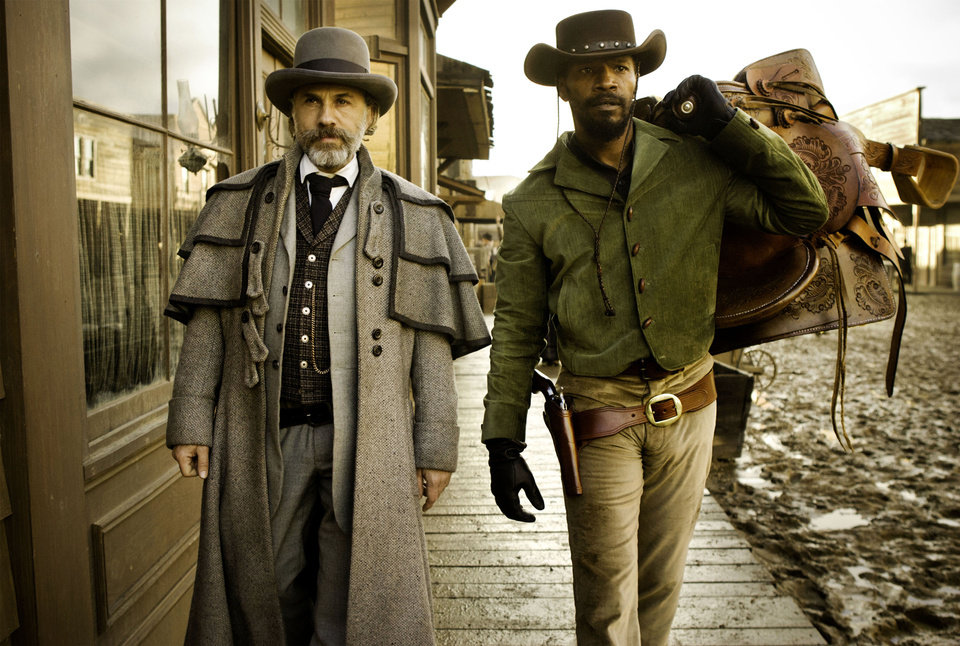 "Christoph Waltz, left, stars as Schultz and Jamie Foxx as Django in the Oscar-winning film ""Django Unchained,"" written and directed by Quentin Tarantino. The film will receive the Outstanding Theatrical Motion Picture prize at the Wrangler Awards in April in Oklahoma City. AP Photo"