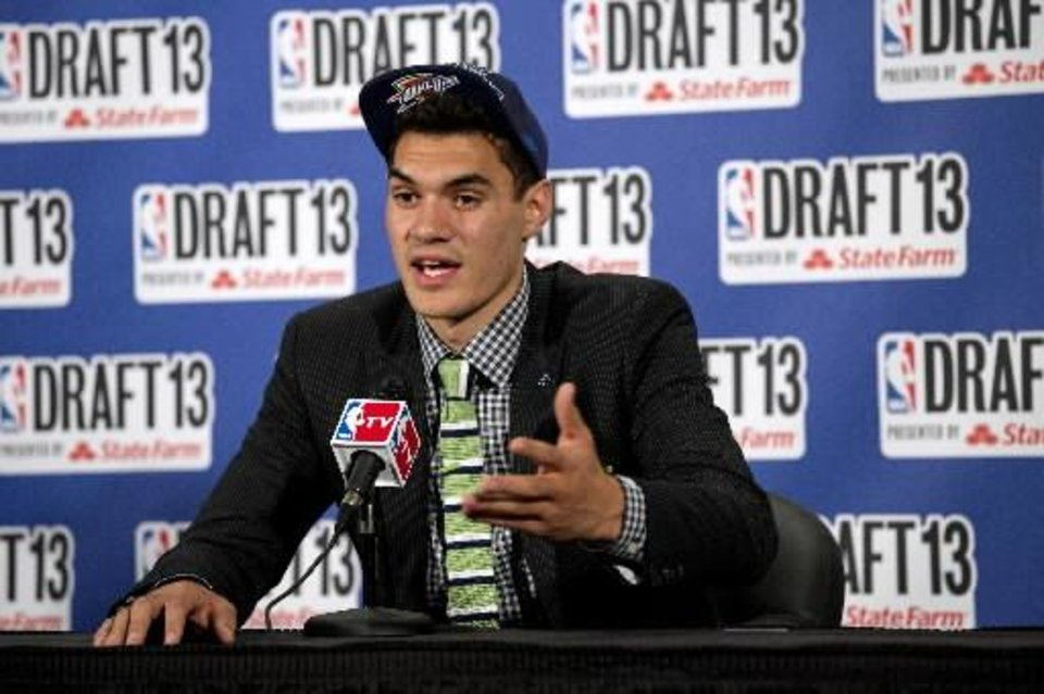 Pittsburgh's Steven Adams, picked by the Oklahoma City Thunder in the first round of the NBA basketball draft, speaks during a news conference Thursday, June 27, 2013, in New York. (AP Photo/Craig Ruttle)