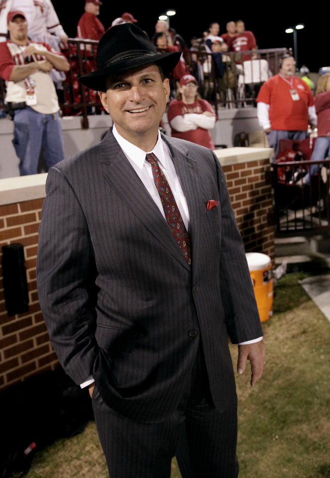 Photo - Athletic Director Joe Castiglione wears as Bud Wilkinson style hat to the college football game between the University of Oklahoma (OU) Sooners and the University of Colorado Buffaloes at Gaylord Family-Oklahoma Memorial Stadium in Norman, Okla., Saturday, October 30, 2010.  Photo by Steve Sisney, The Oklahoman