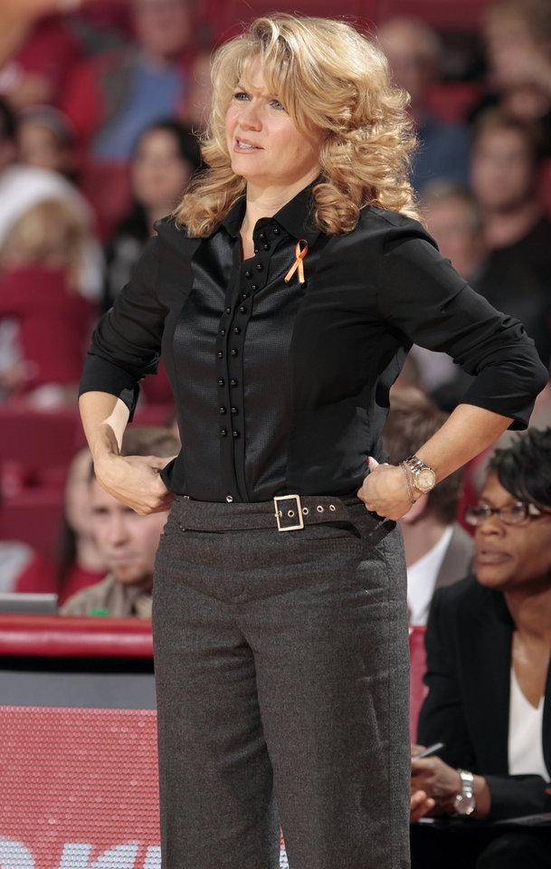Sooner head coach Sherri Coale questions a call in the second half as the University of Oklahoma (OU) Sooners defeated the Texas Christian University (TCU) Horned Frogs 82-54 in women's college basketball at the Lloyd Noble Center on Wednesday, Dec. 28, 2011, in Norman, Okla.  Photo by Steve Sisney, The Oklahoman