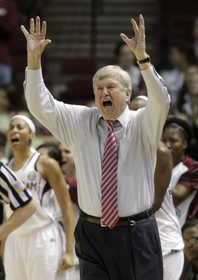 Photo - Texas A&M coach Gary Blair gestures during the second half of an NCAA college basketball game against South Carolina, Thursday, Jan. 16, 2014, in College Station, Texas. Texas A&M defeated South Carolina 67-65 in overtime. (AP Photo/Patric Schneider)