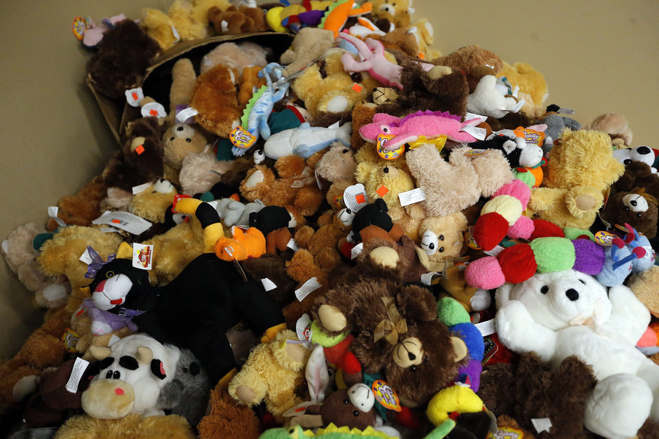 Stuffed animals wait to be picked up at Operation Homefront's toy distribution center at the Reed Center in Midwest City.
