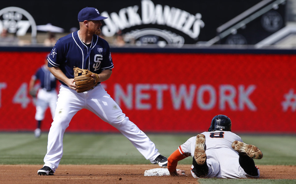 Photo - San Francisco Giants' Hunter Pence, right, is called out at second base after San Diego Padres' Brooks Condrad caught a line drive by Buster Posey for the double play in the first inning of a baseball game on Saturday, July 5, 2014, in San Diego. (AP Photo/Don Boomer)