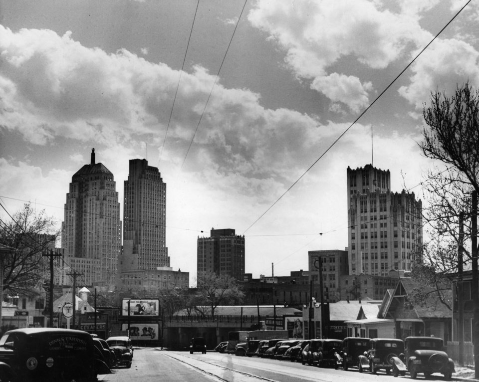 OKLAHOMA CITY / SKY LINE / OKLAHOMA:  No caption.  Staff photo by C. J. Kaho. Photo dated 04/16/1940 and unpublished.  Photo arrived in library on 04/21/1940.