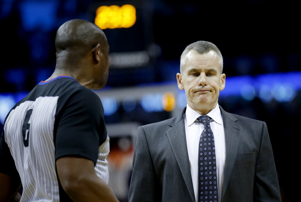 Photo - Oklahoma City head coach Billy Donovan reacts to a call during the NBA game between the Oklahoma City Thunder and the Minnesota Timberwolves at the Chesapeake Energy Arena,  Sunday, Dec. 23, 2018. Photo by Sarah Phipps, The Oklahoman
