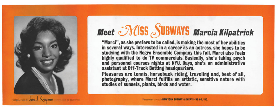 "This image provided by the MTA courtesy of the New York Transit Museum shows Marcia Kilpatrick, who appeared on placards in the New York City subways from Nov. 1974 - April 1975 in the �Meet Miss Subways� campaign that ran for 35 years as eye candy to bring attention to other advertisements in New York�s transit system. ""Meet Miss Subways: New York's Beauty Queens 1941-76,"" is now an exhibition at the New York Transit Museum running Oct. 23-March 25, and a companion book of the same name with current-day photos of the women. (AP Photo/ MTA courtesy of the New York Transit Museum)"