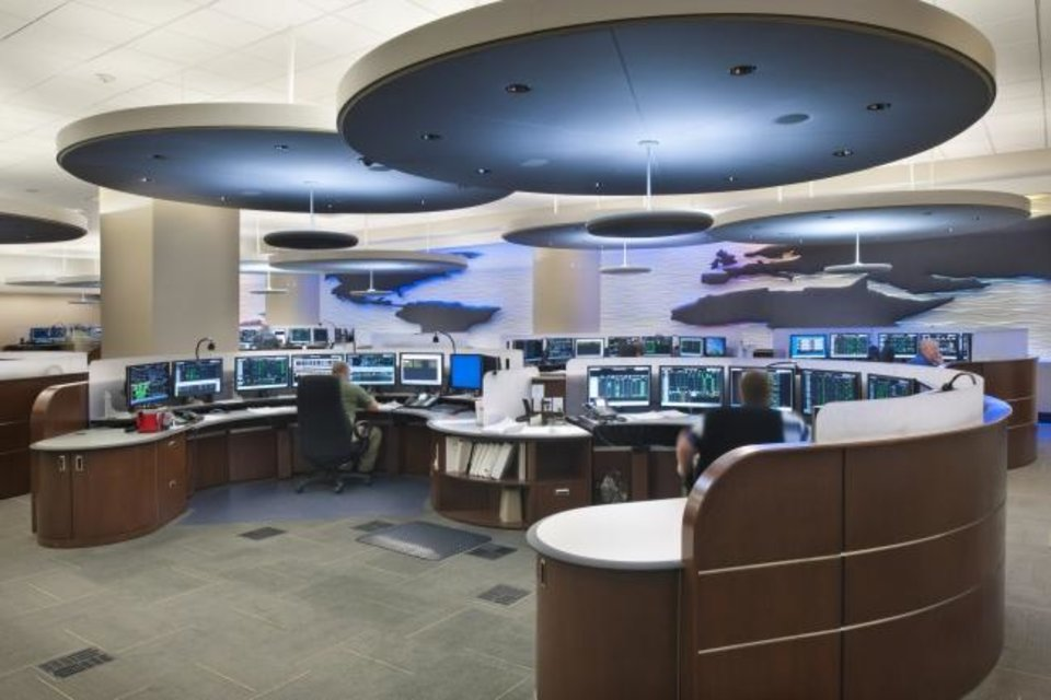 Photo -  FSB's redesign of the Phillips 66 Pipeline Control Center in Bartlesville balanced security for 21 pipeline controllers, 14 managers and programming personnel  to create a relaxed but focused environment where employees worked 24 hours a day, seven days a week, 365 days a year managing more than 12,000 miles of pipeline. [PHOTO PROVIDED BY FSB]