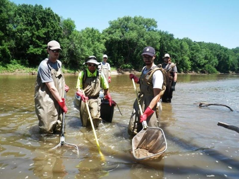 Photo -  Oklahoma Water Resources Board interns conduct bio sampling. [Photo provided]