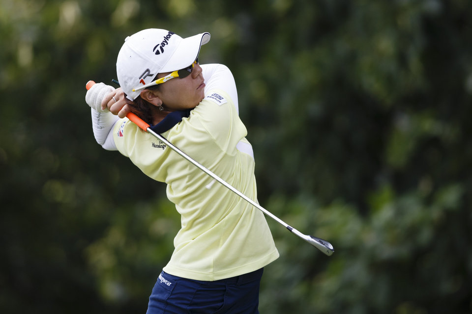 Photo - Mika Miyazato, of Japan, hits from the third tee during the second round of the Marathon Classic golf tournament at Highland Meadows Golf Club in Sylvania, Ohio, Friday, July 19, 2013. (AP Photo/Rick Osentoski)