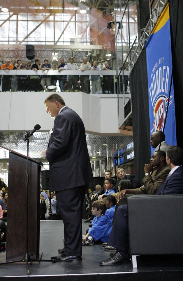 Photo -  Clay Bennett speaks during the unveiling of the Oklahoma City Thunder NBA team name in downtown Oklahoma City in 2008. [The Oklahoman Archives]