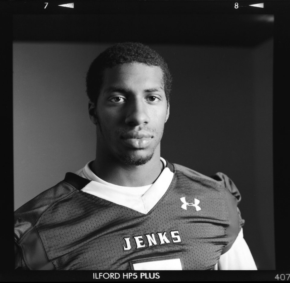 Photo - All-State high school football player Trey'vonne Barre of Jenks poses for a photo in Oklahoma City, Monday, Dec. 17, 2012. Photo by Nate Billings, The Oklahoman