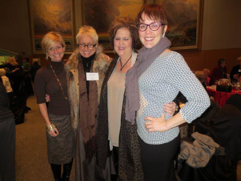 Stacey Maxon, Judi Freyer, Joy Tucker, Jennifer Thurman arrive at for the Hearts of Hope Tea. (Photo by Helen Ford Wallace).