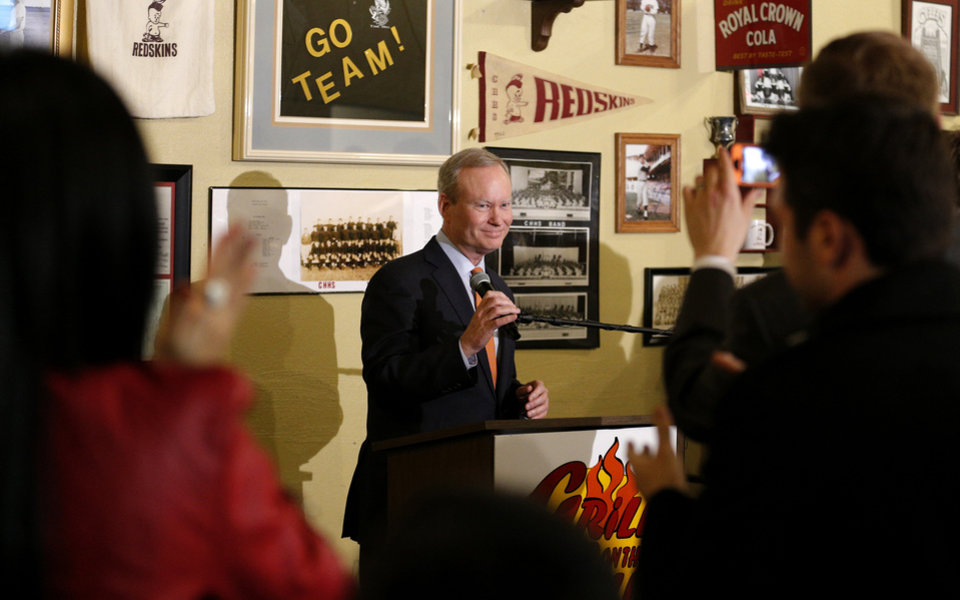 Photo - Mayor MicK Cornett speaks to supporters after winning the Oklahoma City mayoral race,  Tuesday, March 5, 2014. Photo by Sarah Phipps, The Oklahoman