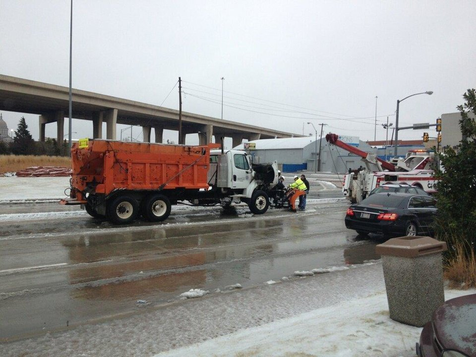 The Oklahoma City snow plow that caught fire - Photo by News9 as tweeted by Rusty Surette