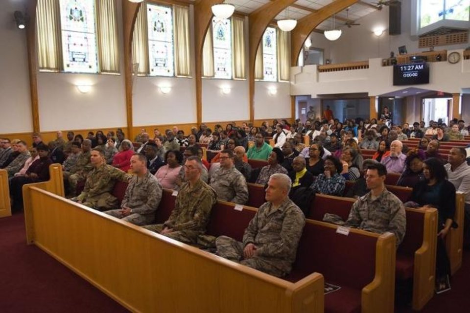 Photo -  Attendees filled pews at the Tinker Chapel during the Jan. 17 celebration of Dr. Martin Luther King Jr.'s life sponsored by the Tinker Air Force Base African-American Heritage Council earlier this year.